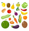 isolated food items set - colorful fruits and vector image
