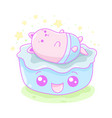 kawaii of a cute little cat in a bed vector image