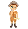 kid explorer boy holding magnifying glass vector image