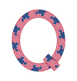 Letter Q made of USA flags vector image vector image