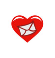 love message email heart logo vector image