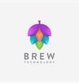 modern tech hop brew brewery logo icon vector image vector image