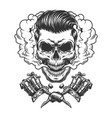 monochrome hipster skull in smoke cloud vector image vector image