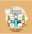 multitasking problem thin line concept vector image