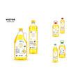 natural extra virgin sunflower oil plastic bottles vector image