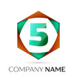 number five logo symbol in the colorful hexagonal vector image vector image