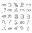 optometry signs black thin line icon set vector image vector image