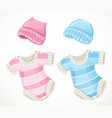 pink and blue sets for bacoveralls and hat vector image