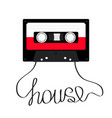 plastic audio tape cassette with word house music vector image