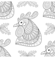 rooster with mistletoe seamless pattern vector image vector image