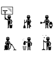 set cleaner worker vector image