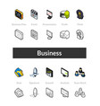 set isometric icons in outline style colored vector image