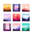 set of beautiful flat cartoon landscapes with vector image vector image