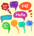 Set of bright speech bubbles hand-drawn on a light vector image vector image