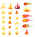 Set of flame icons vector image vector image