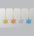 set snowflakes on a ribbon greeting card vector image vector image