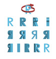 Sheet of sprites rotation of cartoon 3d letter r