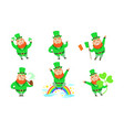 smiling leprechauns set funny st patricks day vector image