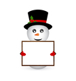 snowman holding a banner vector image vector image