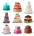 Sweet Baked Cakes Set vector image vector image