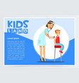 therapist listening boy s back with stethoscope vector image vector image