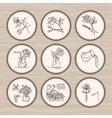 Vintage Floristic Icons vector image