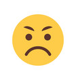 yellow angry cartoon face emoji people emotion vector image vector image