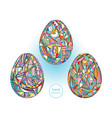 easter eggs set background hand drawn vector image
