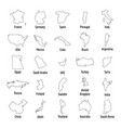 map country icon set outline style vector image
