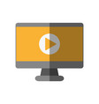 video play symbol on computer screen icon image vector image