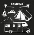 camping or hiking vintage elements on chalkboard vector image