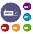 airport departure sign icons set vector image vector image