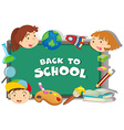 Back to school theme with students and objects vector image vector image