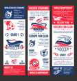 banners for football soccer match game vector image vector image