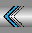 blue arrow direction on silver black line vector image vector image