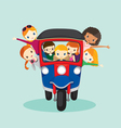 Boy Girl Travel Drive Tuk Tuk vector image