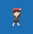 businesswoman walking under the rain flat design vector image vector image