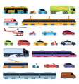 car collection vehicles city transportation cars vector image vector image