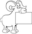 cartoon ram holding a sign vector image vector image