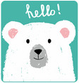cute card with lovely white bear vector image