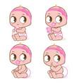 cute caucasian baby girl vector image