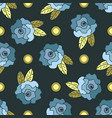 cute seamless pattern with blue hand drawn roses vector image vector image