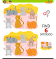 differences game with cartoon cat characters vector image vector image