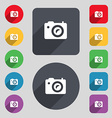 Digital photo camera icon sign A set of 12 colored vector image vector image