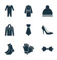 dress icons set with suit woman shoe necktie and vector image vector image