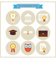 Flat School Graduation and Success Icons Set vector image vector image