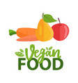 fruit and carrot pear and apple vegan vector image