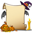 halloween banner with empty paper scroll isolated vector image