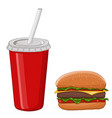 hamburger and a drink in a red disposable cup vector image vector image