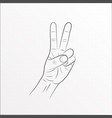 hand gesture peace sign line art vector image